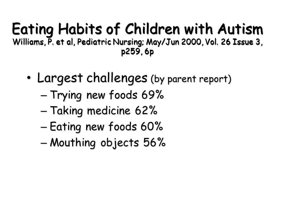 Eating Habits of Children with Autism Williams, P. et al, Pediatric Nursing; May/Jun 2000, Vol. 26 Issue 3, p259, 6p Largest challenges (by parent rep