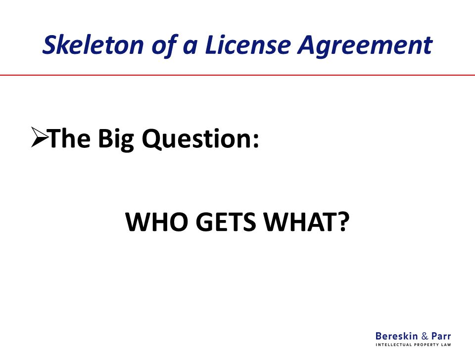 Skeleton of a License Agreement  The Big Question: WHO GETS WHAT