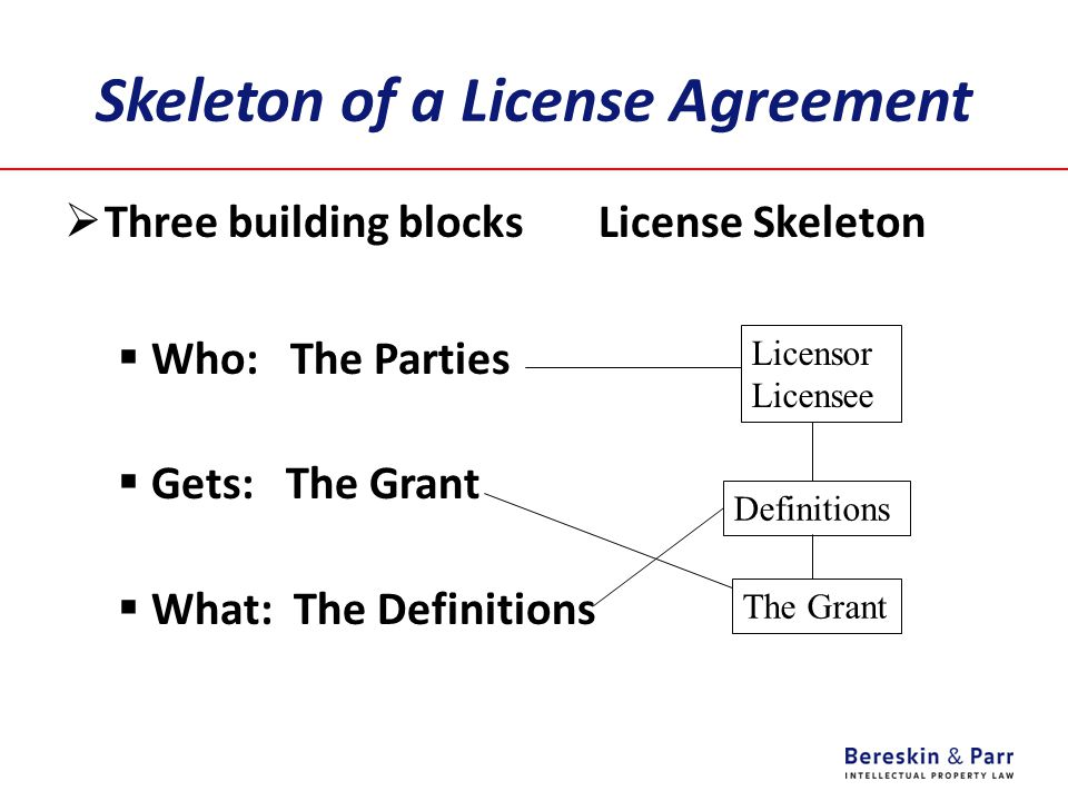 Skeleton of a License Agreement  Three building blocks License Skeleton  Who: The Parties  Gets: The Grant  What: The Definitions Licensor Licensee Definitions The Grant
