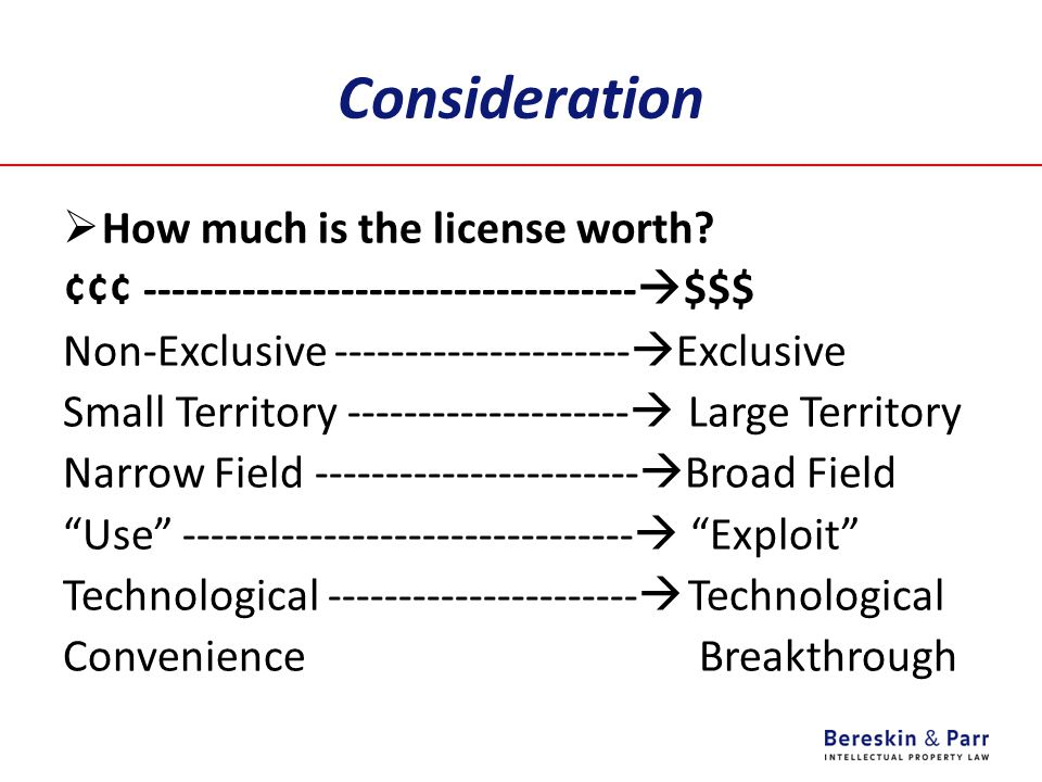 Consideration  How much is the license worth.