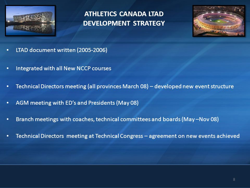 8 ATHLETICS CANADA LTAD DEVELOPMENT STRATEGY LTAD document written (2005-2006) Integrated with all New NCCP courses Technical Directors meeting (all p