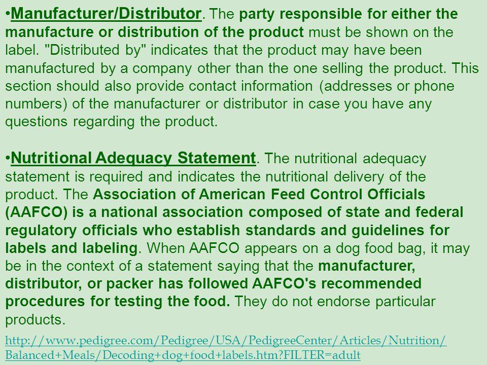 Manufacturer/Distributor.