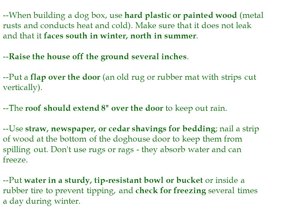 --When building a dog box, use hard plastic or painted wood (metal rusts and conducts heat and cold).