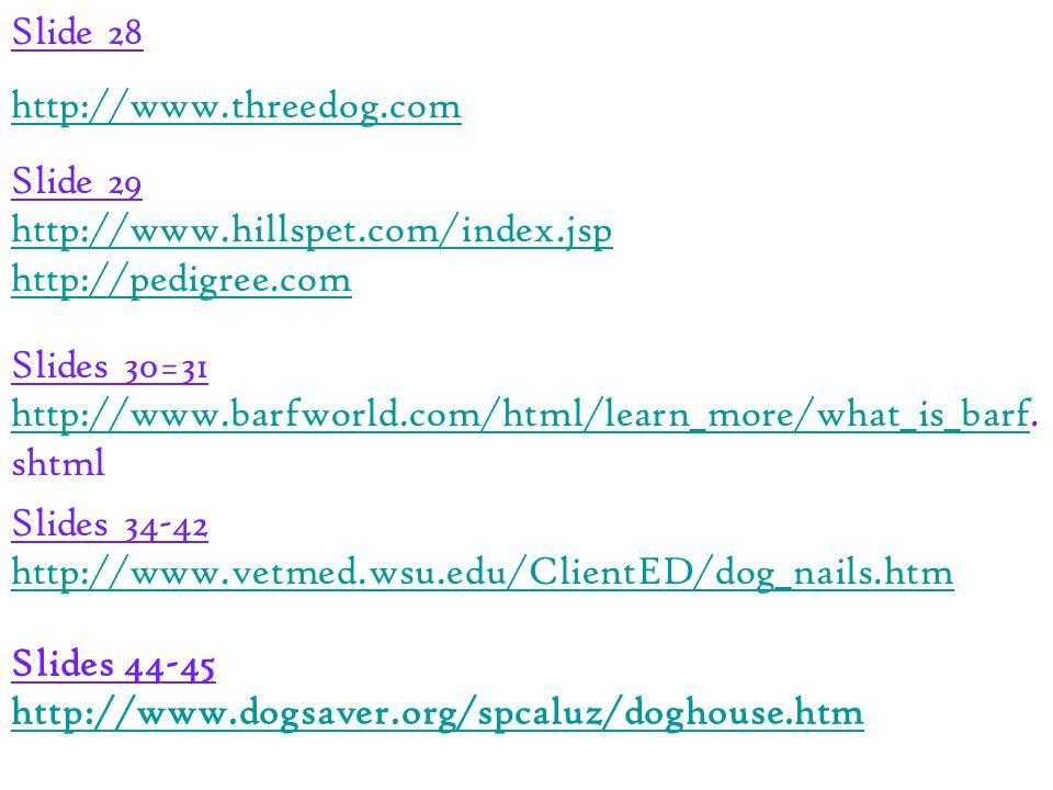 Slide 28 http://www.threedog.com Slide 29 http://www.hillspet.com/index.jsp http://pedigree.com Slides 30=31 http://www.barfworld.com/html/learn_more/what_is_barfhttp://www.barfworld.com/html/learn_more/what_is_barf.