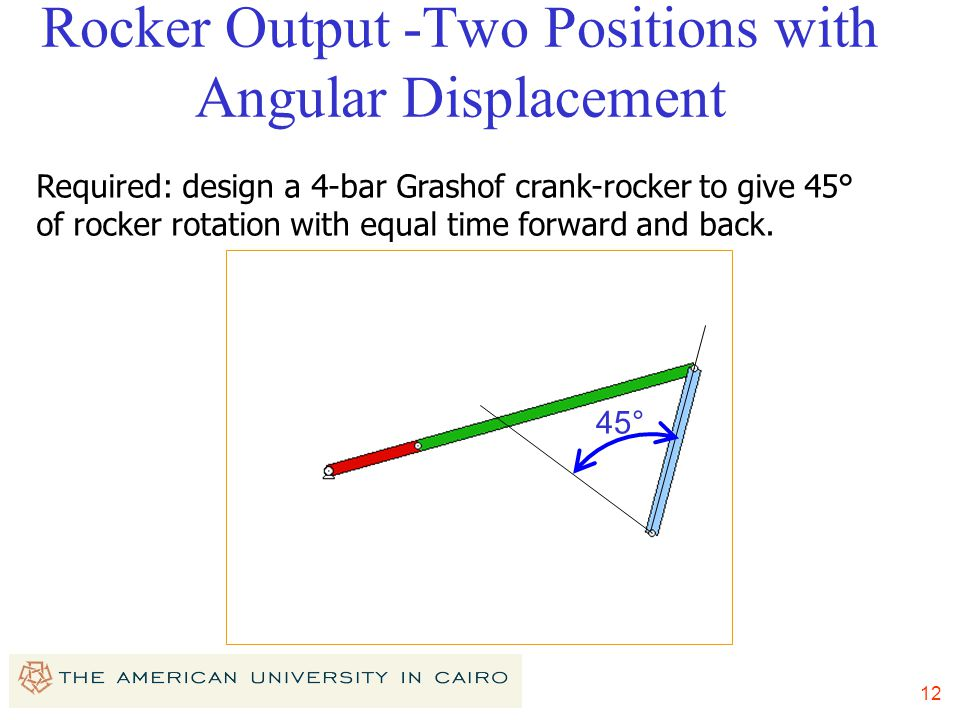 12 Rocker Output -Two Positions with Angular Displacement Required: design a 4-bar Grashof crank-rocker to give 45° of rocker rotation with equal time