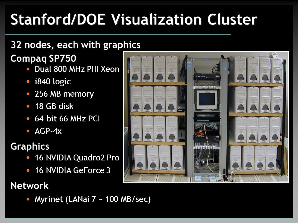 Stanford/DOE Visualization Cluster 32 nodes, each with graphics Compaq SP750 Dual 800 MHz PIII Xeon i840 logic 256 MB memory 18 GB disk 64-bit 66 MHz PCI AGP-4xGraphics 16 NVIDIA Quadro2 Pro 16 NVIDIA GeForce 3Network Myrinet (LANai 7 ~ 100 MB/sec)