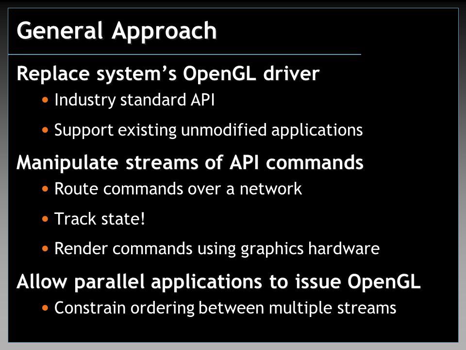 General Approach Replace system's OpenGL driver Industry standard API Support existing unmodified applications Manipulate streams of API commands Route commands over a network Track state.