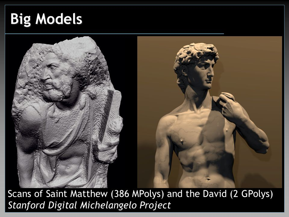 Big Models Scans of Saint Matthew (386 MPolys) and the David (2 GPolys) Stanford Digital Michelangelo Project