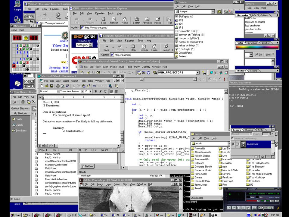 Example: Sort-Last Application runs directly on graphics hardware Same application can use sort-last or sort-first......
