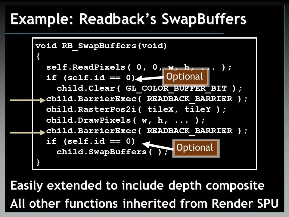 Example: Readback's SwapBuffers Easily extended to include depth composite All other functions inherited from Render SPU void RB_SwapBuffers(void) { self.ReadPixels( 0, 0, w, h,...