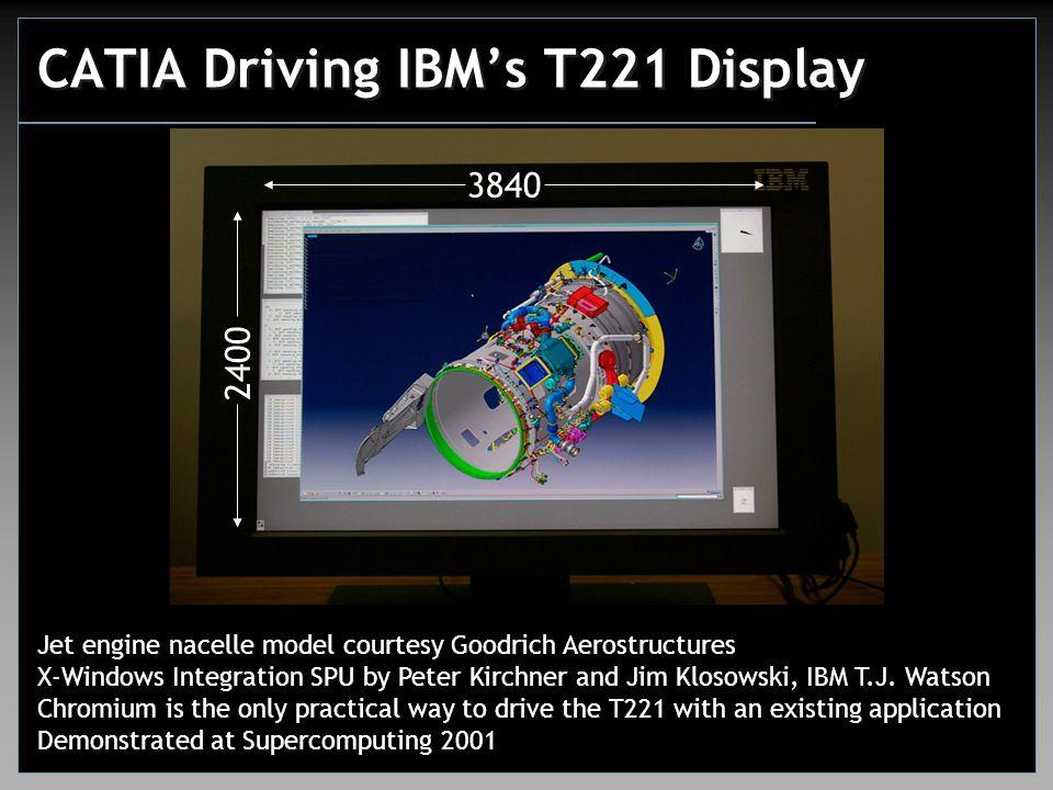 CATIA Driving IBM's T221 Display Jet engine nacelle model courtesy Goodrich Aerostructures X-Windows Integration SPU by Peter Kirchner and Jim Klosowski, IBM T.J.