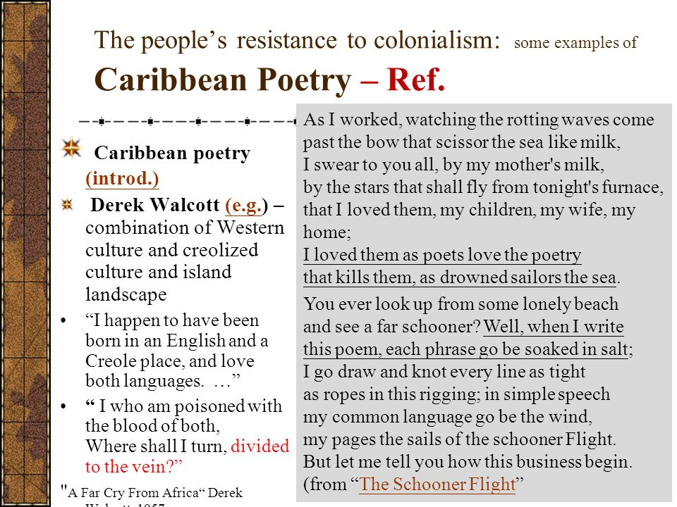 The people's resistance to colonialism: some examples of Caribbean Poetry – Ref.