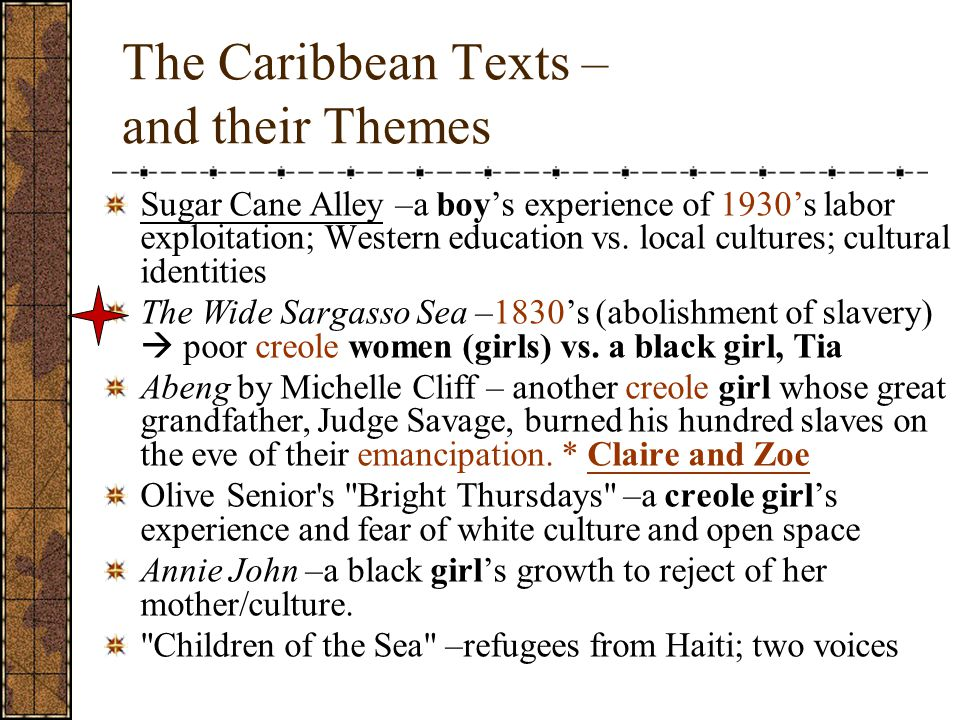 The Caribbean Texts – and their Themes Sugar Cane Alley –a boy's experience of 1930's labor exploitation; Western education vs.