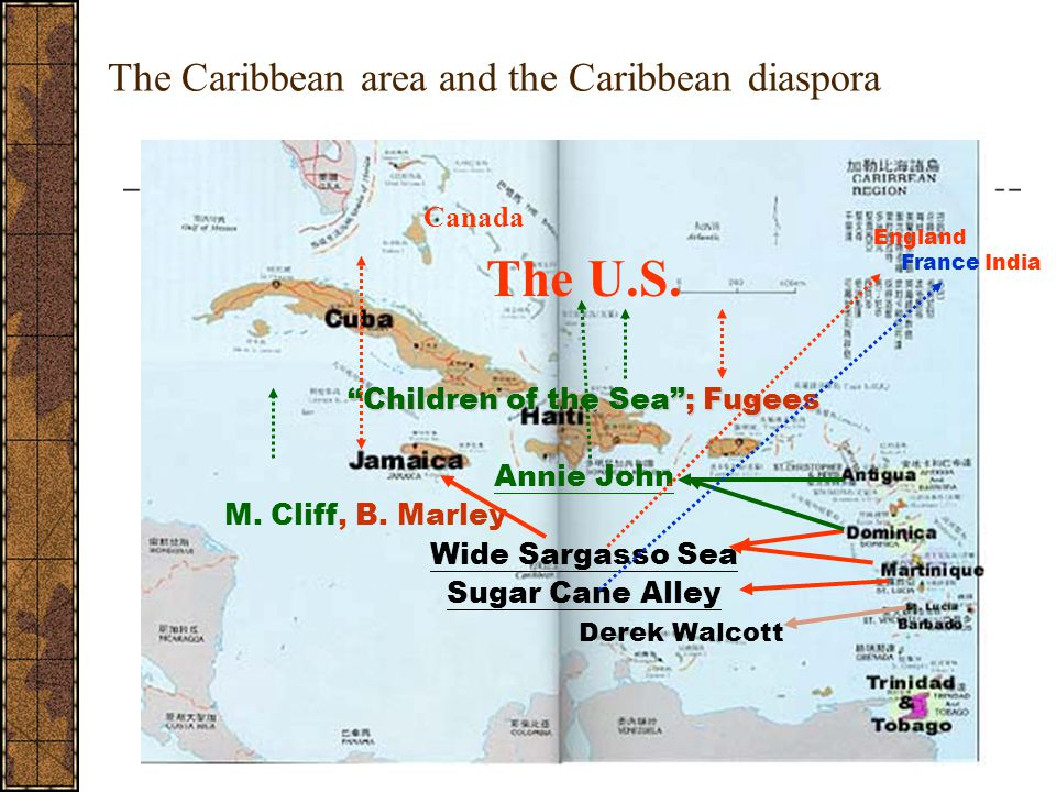 """The Caribbean area and the Caribbean diaspora Canada The U.S. """"Children of the Sea""""; Fugees Annie John M. Cliff, B. Marley Wide Sargasso Sea Sugar Can"""