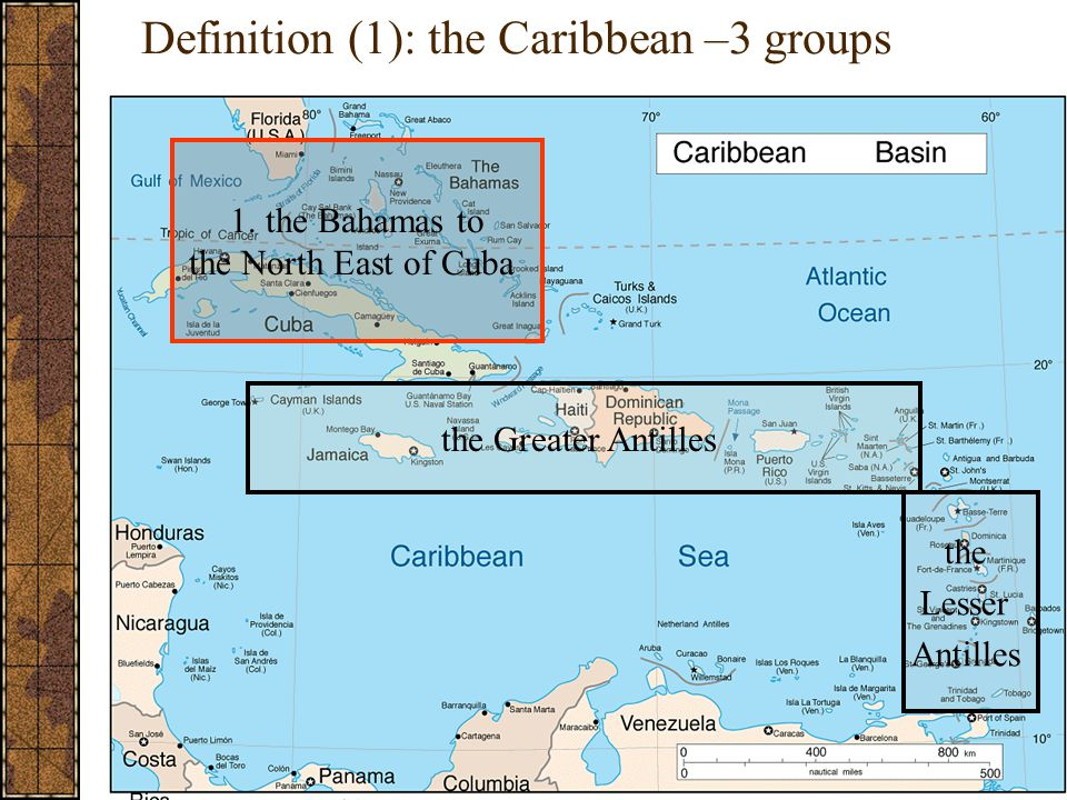 Definition (1): the Caribbean –3 groups 1.