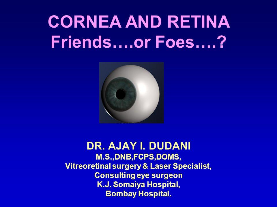 CORNEA AND RETINA Friends….or Foes…..DR. AJAY I.