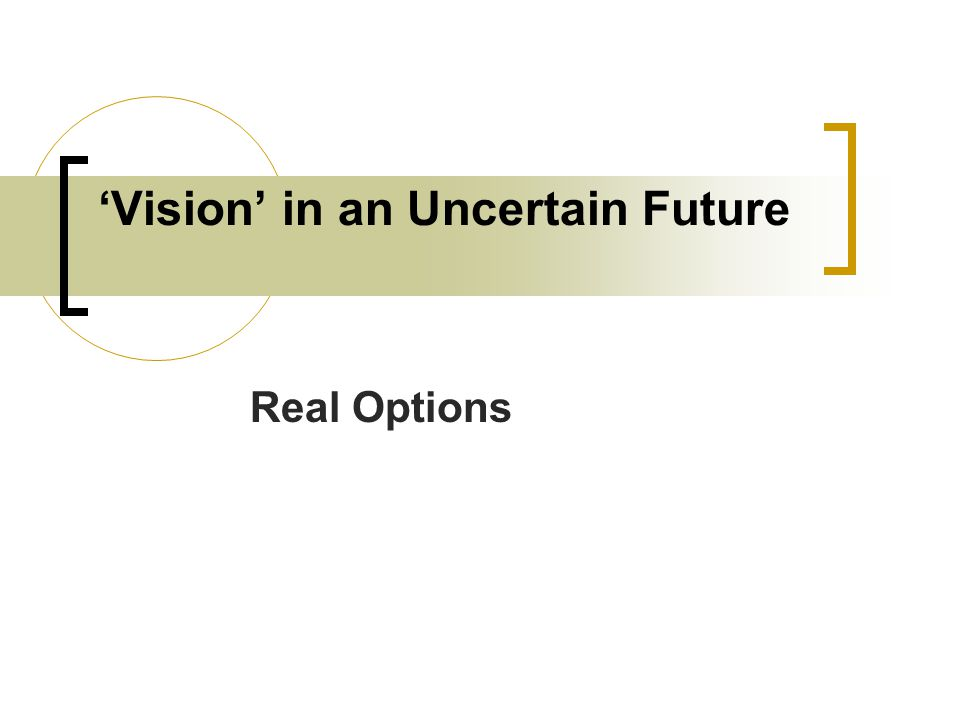 'Vision' in an Uncertain Future Real Options