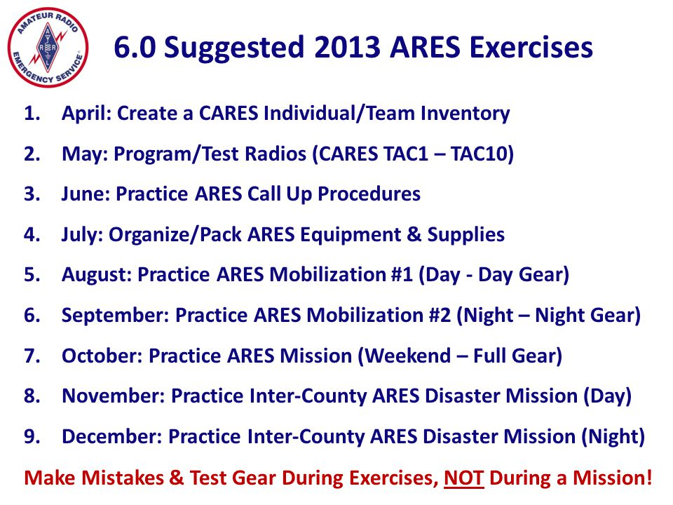 1.Understand and practice primary/secondary ARES call-up procedures.