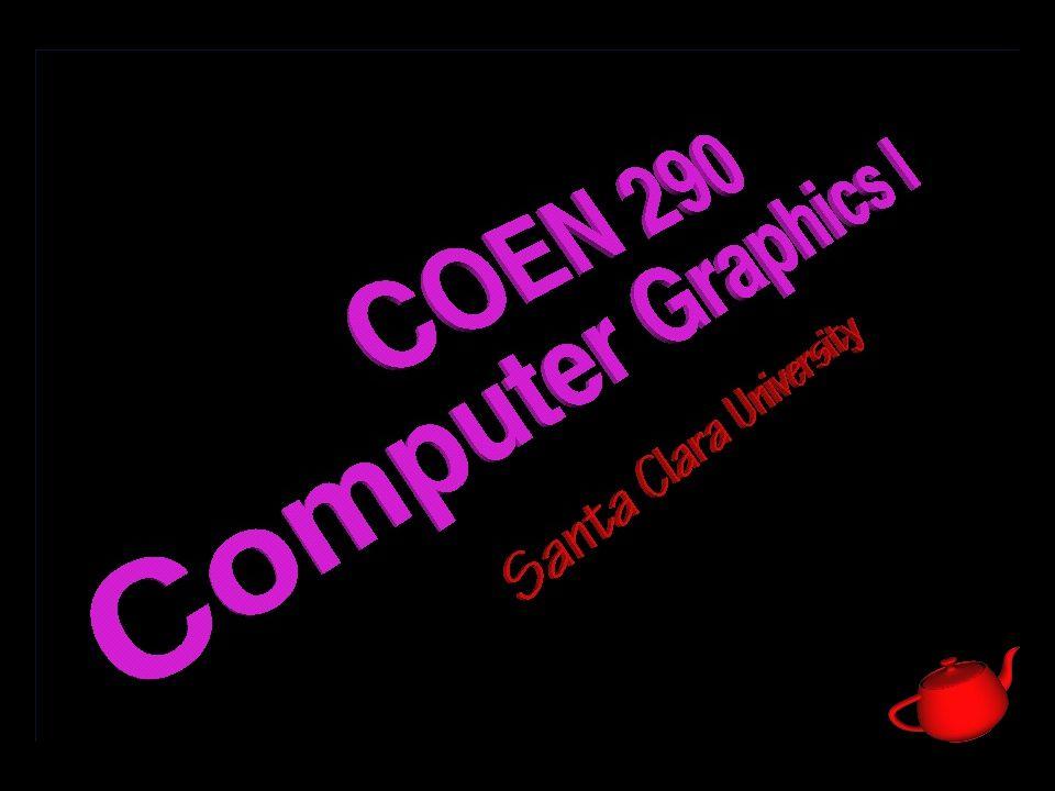 22 COEN 290 - Computer Graphics I Everything Else … n Global lighting parameters are held in the light model glLightModel[fd]v( property, param ); GL_LIGHT_MODEL_AMBIENT GL_LIGHT_MODEL_TWO_SIDE GL_LIGHT_MODEL_LOCAL_VIEWER
