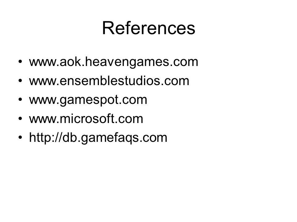 References www.aok.heavengames.com www.ensemblestudios.com www.gamespot.com www.microsoft.com http://db.gamefaqs.com