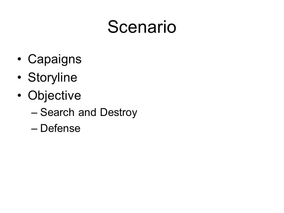 Scenario Capaigns Storyline Objective –Search and Destroy –Defense