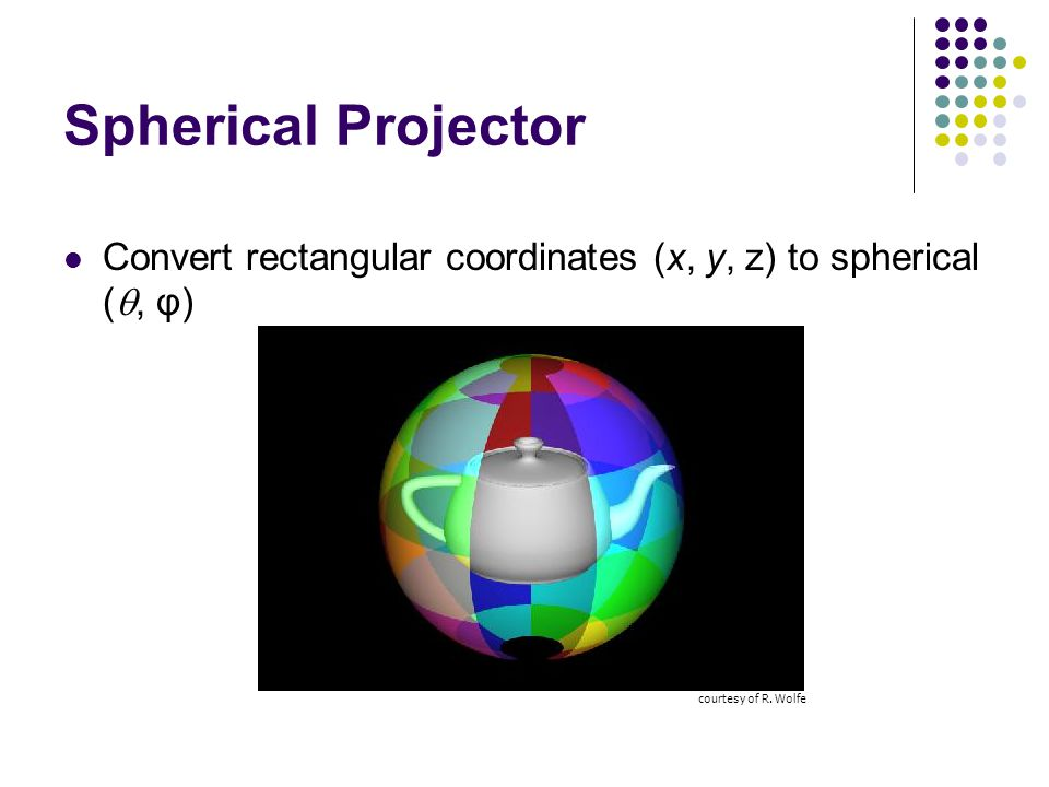 Spherical Projector Convert rectangular coordinates (x, y, z) to spherical ( , φ) courtesy of R. Wolfe
