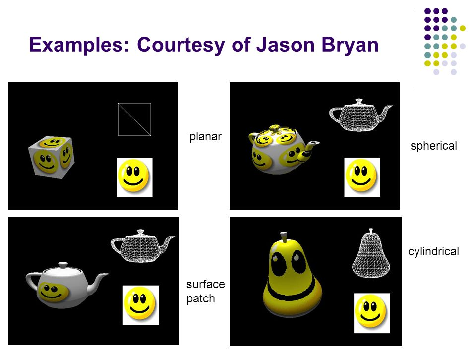 Examples: Courtesy of Jason Bryan planar surface patch spherical cylindrical