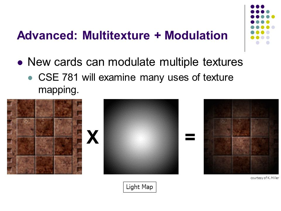 Advanced: Multitexture + Modulation New cards can modulate multiple textures CSE 781 will examine many uses of texture mapping. courtesy of K. Miller