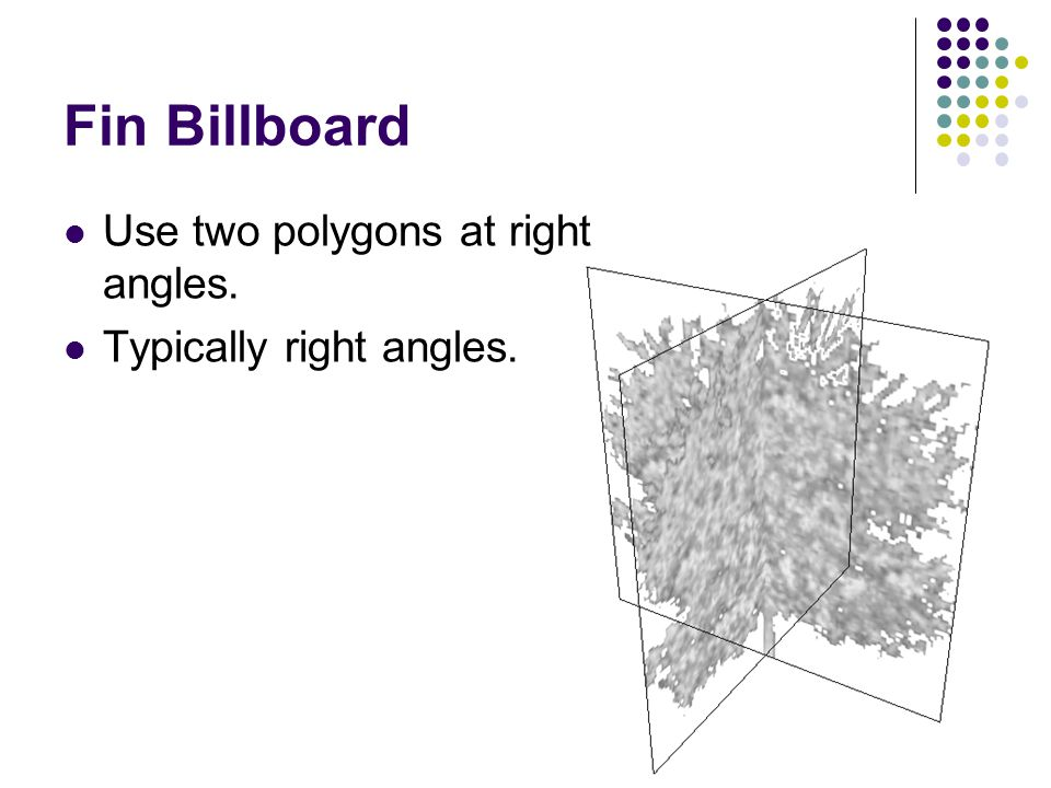 Fin Billboard Use two polygons at right angles. Typically right angles.
