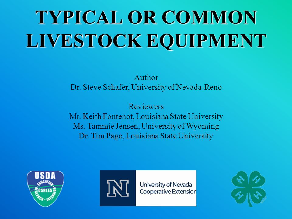 TYPICAL OR COMMON LIVESTOCK EQUIPMENT Author Dr.