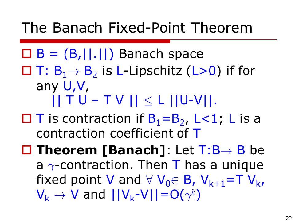 23 The Banach Fixed-Point Theorem  B = (B,||.||) Banach space  T: B 1 .