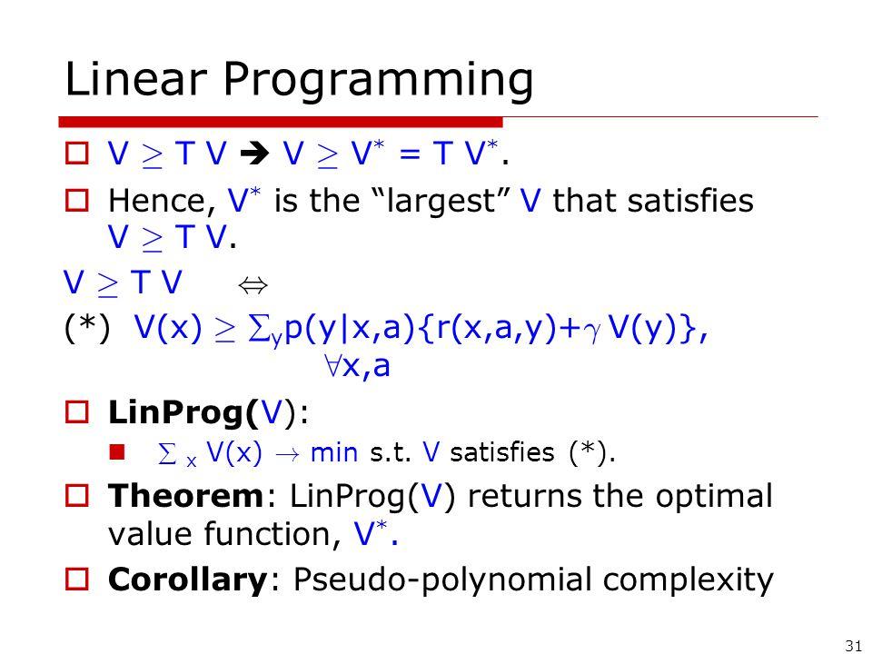 31 Linear Programming  V ¸ T V  V ¸ V * = T V *.