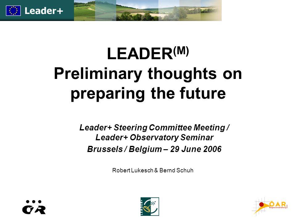LEADER (M) Preliminary thoughts on preparing the future Leader+ Steering Committee Meeting / Leader+ Observatory Seminar Brussels / Belgium – 29 June 2006 Robert Lukesch & Bernd Schuh