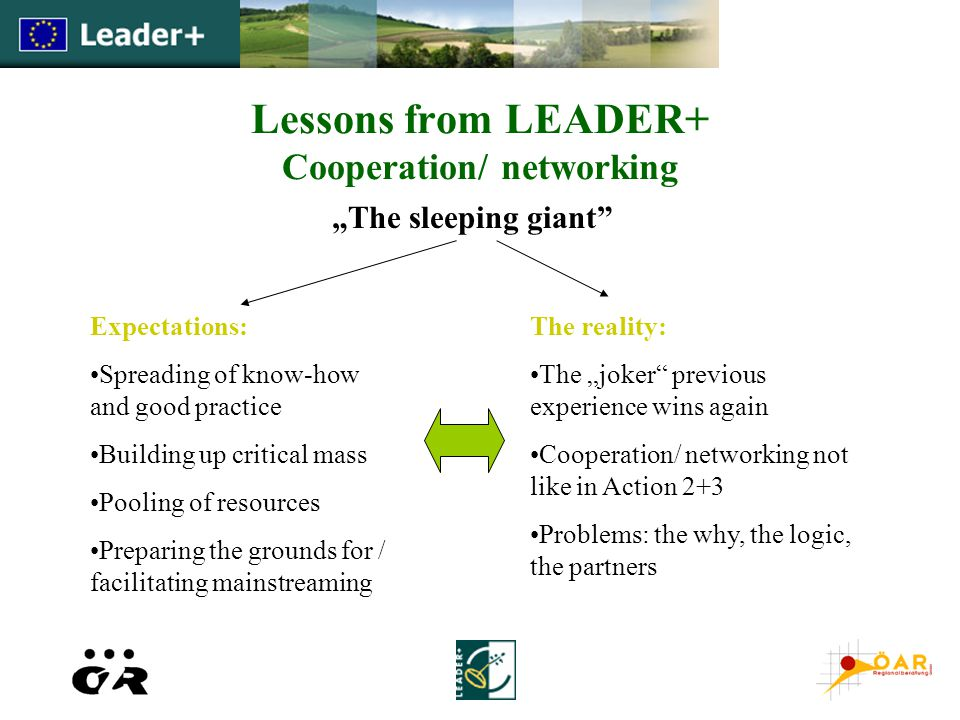 "Lessons from LEADER+ Cooperation/ networking ""The sleeping giant Expectations: Spreading of know-how and good practice Building up critical mass Pooling of resources Preparing the grounds for / facilitating mainstreaming The reality: The ""joker previous experience wins again Cooperation/ networking not like in Action 2+3 Problems: the why, the logic, the partners"