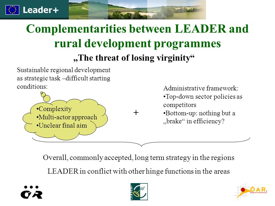 "Complementarities between LEADER and rural development programmes ""The threat of losing virginity Sustainable regional development as strategic task –difficult starting conditions: Complexity Multi-actor approach Unclear final aim + Administrative framework: Top-down sector policies as competitors Bottom-up: nothing but a ""brake in efficiency."