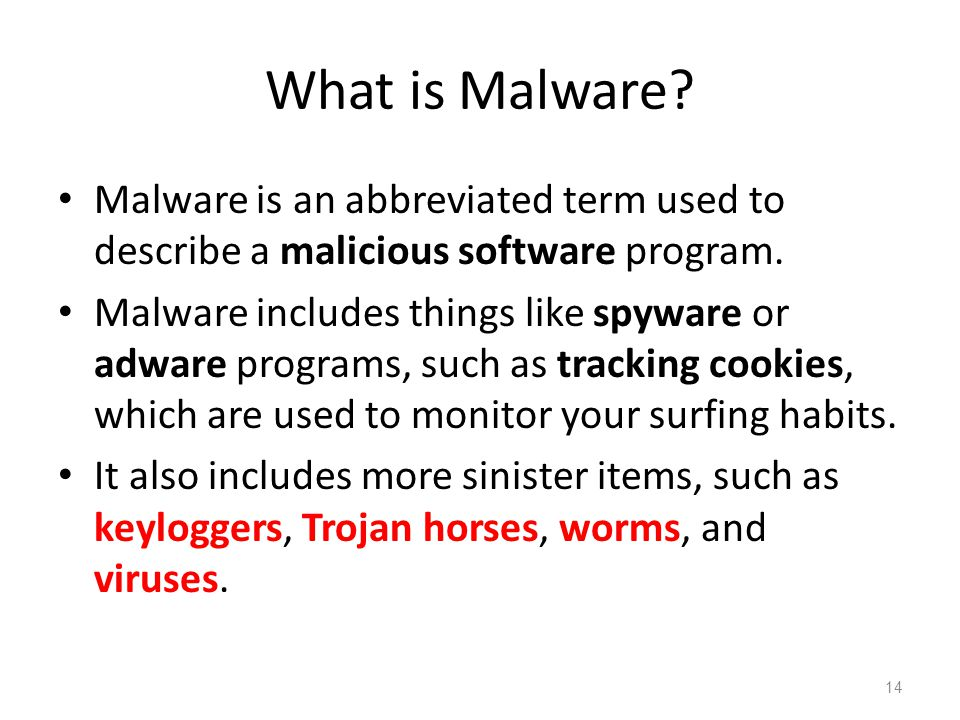 What is Malware? Malware is an abbreviated term used to describe a malicious software program. Malware includes things like spyware or adware programs
