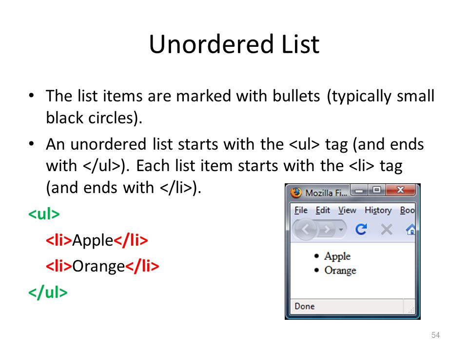 Unordered List The list items are marked with bullets (typically small black circles).
