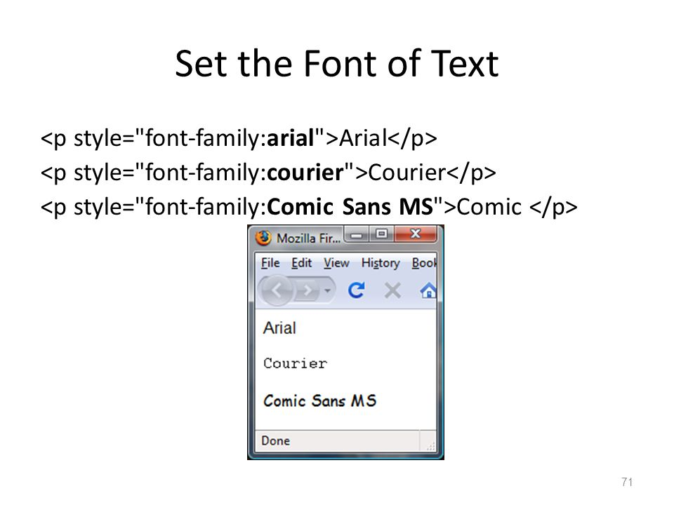 Set the Font of Text Arial Courier Comic 71