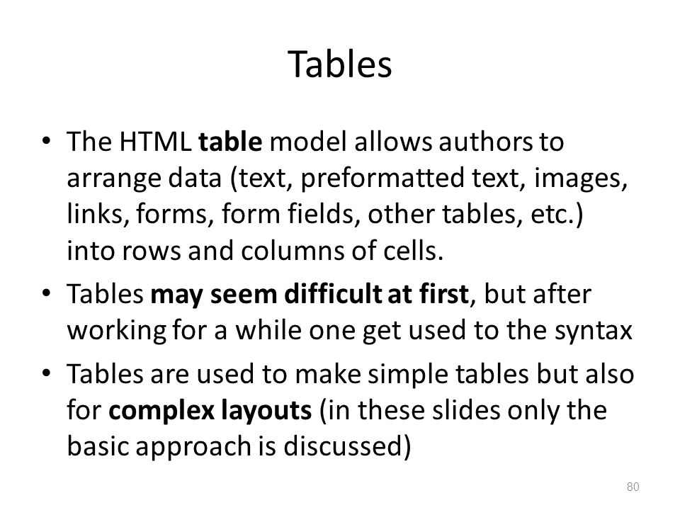 The HTML table model allows authors to arrange data (text, preformatted text, images, links, forms, form fields, other tables, etc.) into rows and col