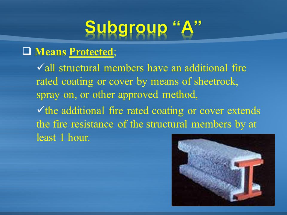  Means Protected; all structural members have an additional fire rated coating or cover by means of sheetrock, spray on, or other approved method, th