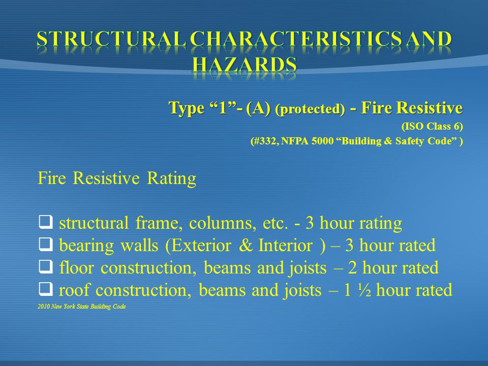 Type 1 - (A) (protected) - Fire Resistive (ISO Class 6) (#332, NFPA 5000 Building & Safety Code ) Fire Resistive Rating  structural frame, columns, etc.