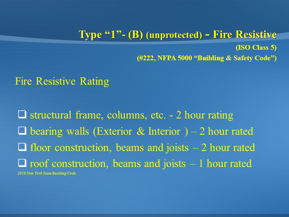 "Type ""1""- (B) (unprotected) - Fire Resistive (ISO Class 5) (#222, NFPA 5000 ""Building & Safety Code"")  structural frame, columns, etc. - 2 hour ratin"
