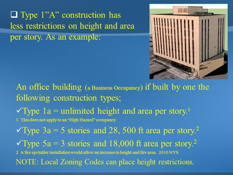 An office building ( a Business Occupancy ) if built by one the following construction types; Type 1a = unlimited height and area per story. 1 1 This
