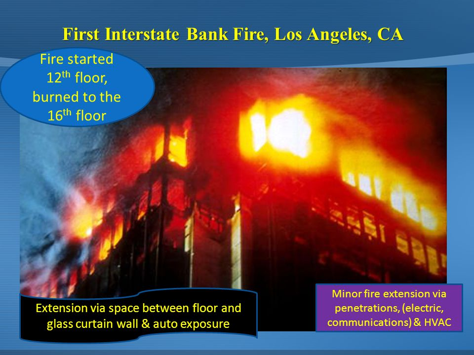First Interstate Bank Fire, Los Angeles, CA Minor fire extension via penetrations, (electric, communications) & HVAC Fire started 12 th floor, burned to the 16 th floor Extension via space between floor and glass curtain wall & auto exposure