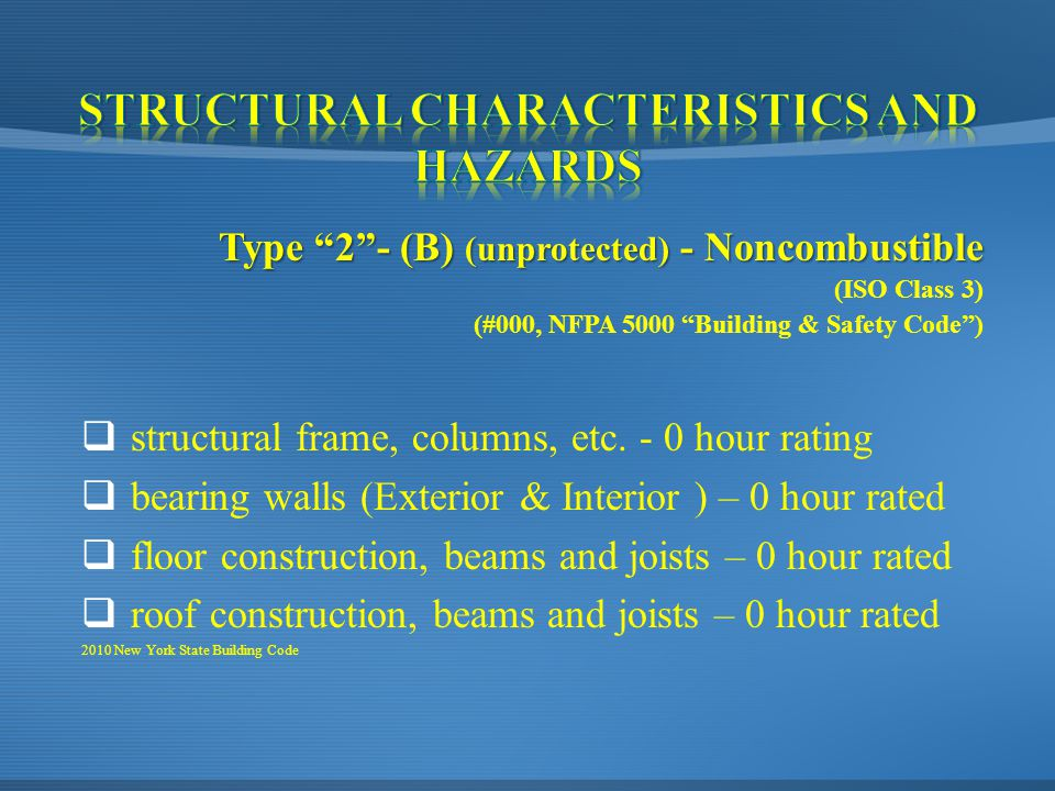 Type 2 - (B) (unprotected) - Noncombustible (ISO Class 3) (#000, NFPA 5000 Building & Safety Code )  structural frame, columns, etc.