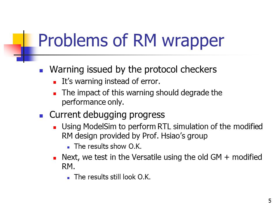5 Problems of RM wrapper Warning issued by the protocol checkers It's warning instead of error.