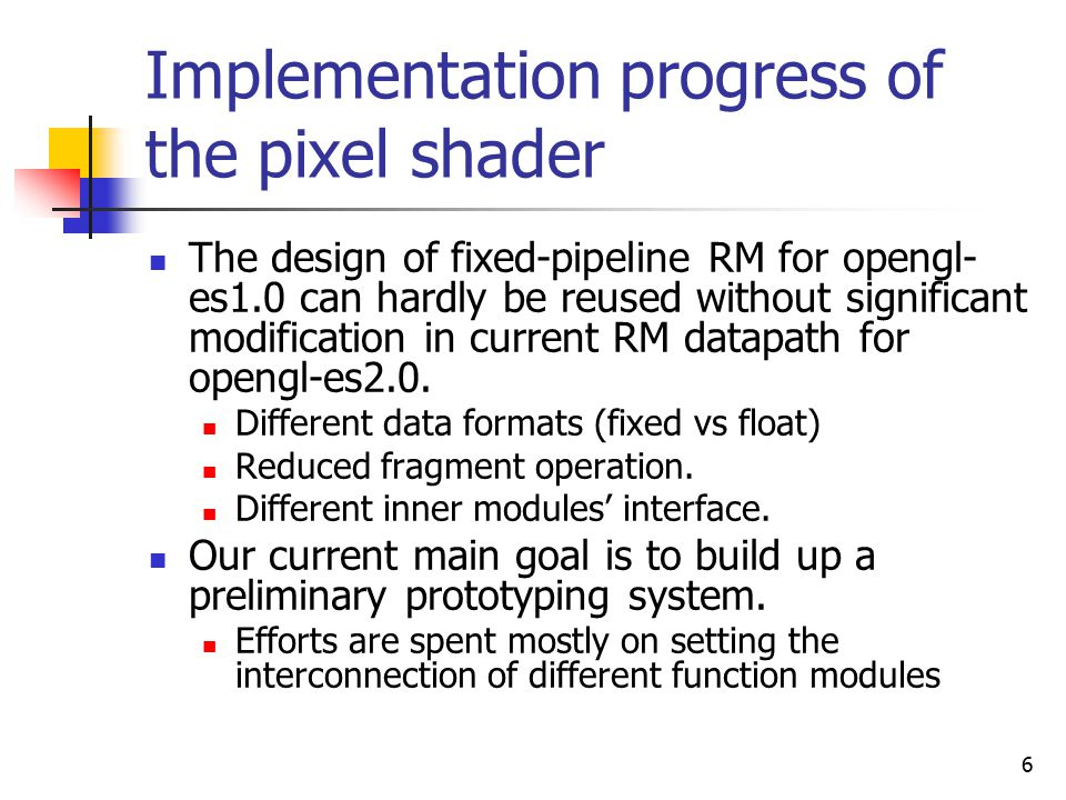 6 Implementation progress of the pixel shader The design of fixed-pipeline RM for opengl- es1.0 can hardly be reused without significant modification