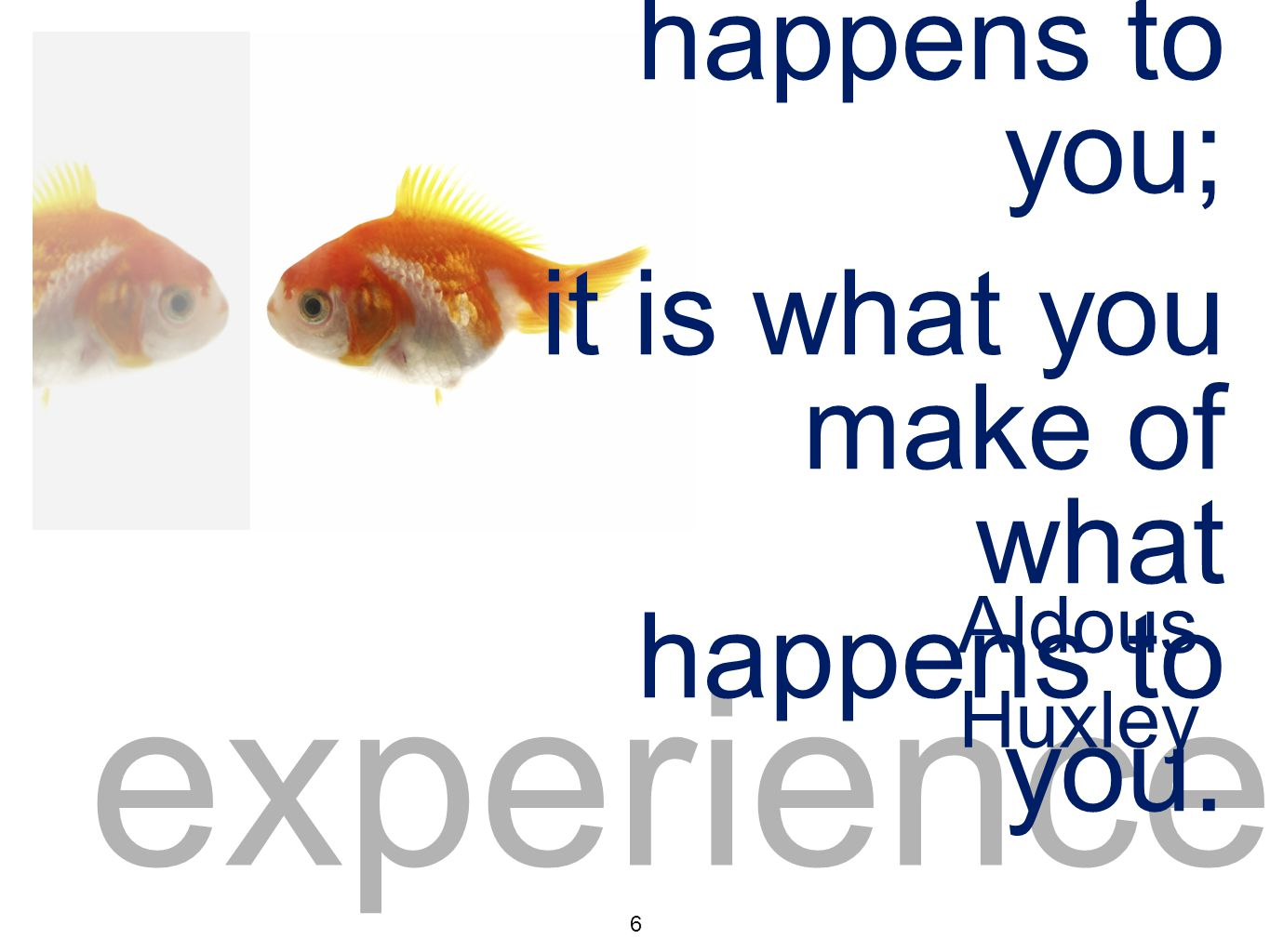 experience 6 Experience isn't what happens to you; it is what you make of what happens to you.