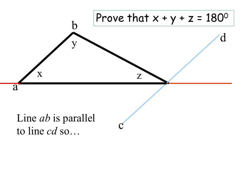 x y z Prove that x + y + z = 180 0 a b c d Line ab is parallel to line cd so…