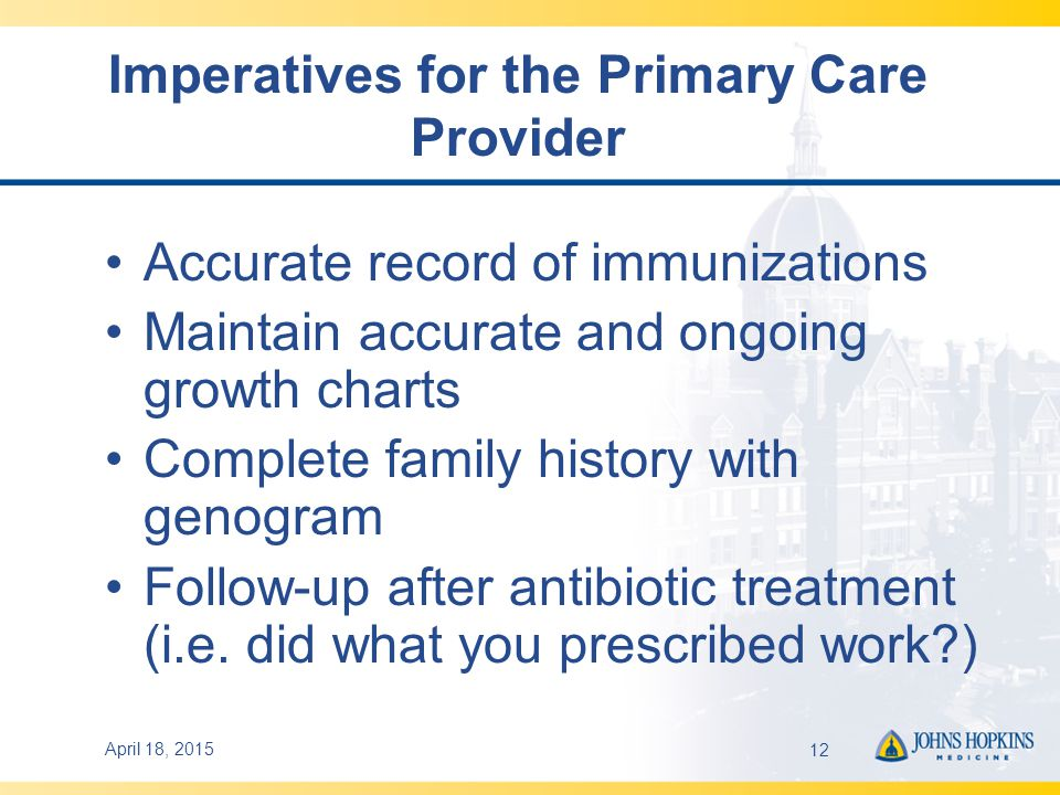 April 18, 201512 Imperatives for the Primary Care Provider Accurate record of immunizations Maintain accurate and ongoing growth charts Complete family history with genogram Follow-up after antibiotic treatment (i.e.